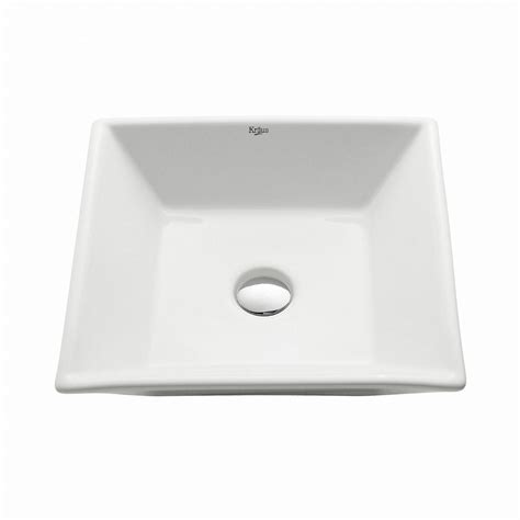 flat bathroom sinks kraus flat square ceramic vessel bathroom sink in white