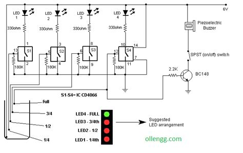 water level indicator project with circuit diagram water level indicator with alarm using ic cd4066 all