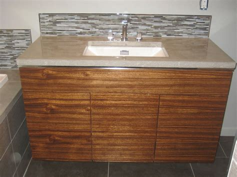 crafted custom bathroom w zebrawood vanity and
