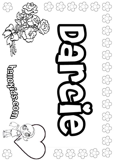 coloring pages with child s name darcie coloring pages hellokids