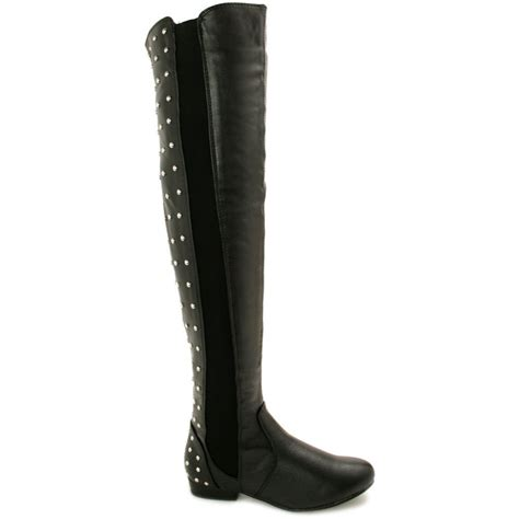 above knee boots buy elsie flat studded stretch knee boots black