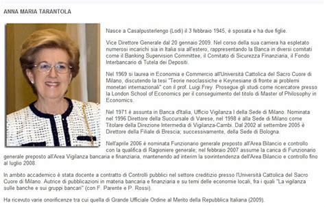Come Entrare In Banca D Italia by Tarantola Una Banchiera Alla Presidenza Della