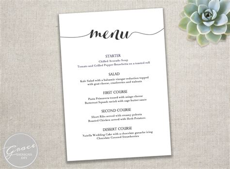 menu template menu dinner menu template dinner menu template