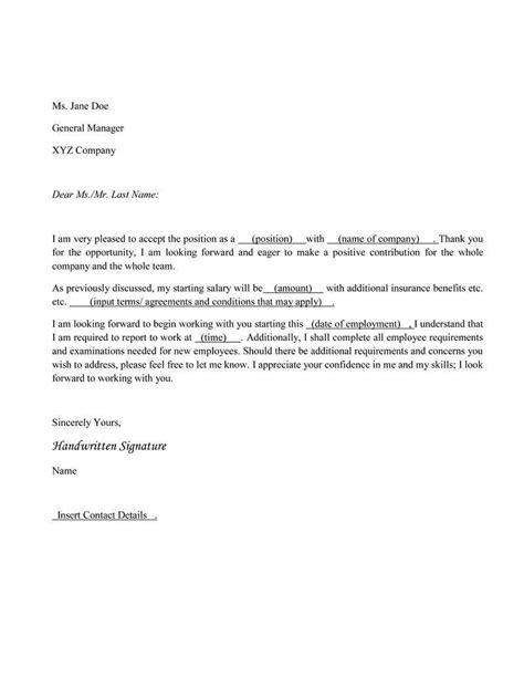 Acceptance Letter For Contract Of Employment Sle Letter Accepting Contract How To 46