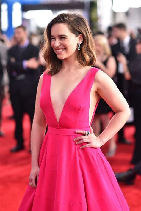Emilia Clarke Hot Pink Deep V neck Ball Gown Dress SAG Awards 2016 Red Carpet   StarCelebrityDresses