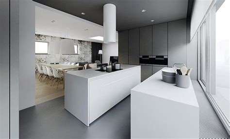 colors that work in concrete grey apartment white drawers in the kitchen near grey concrete floor also