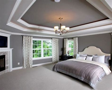 Master Bedroom Painting Ideas sw7018 dovetail design on the tray ceiling and accent