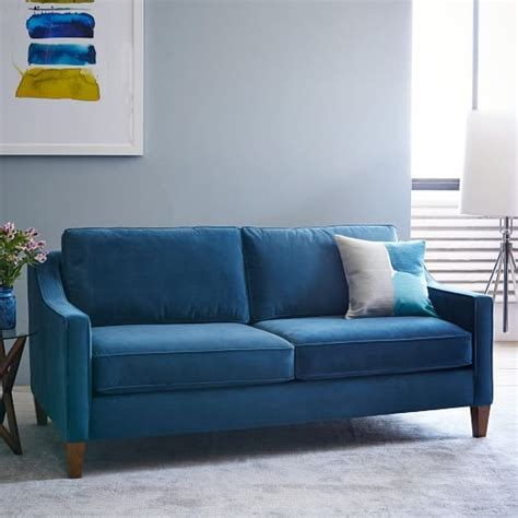 west elm velvet sofa paidge sofa west elm blue brown and beige only 1000 for