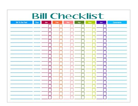 Decided It Was Time To Get My Ass In Gear And Make Us A Bill Checklist Obviously Modeled After Free Bill Payment Checklist Template