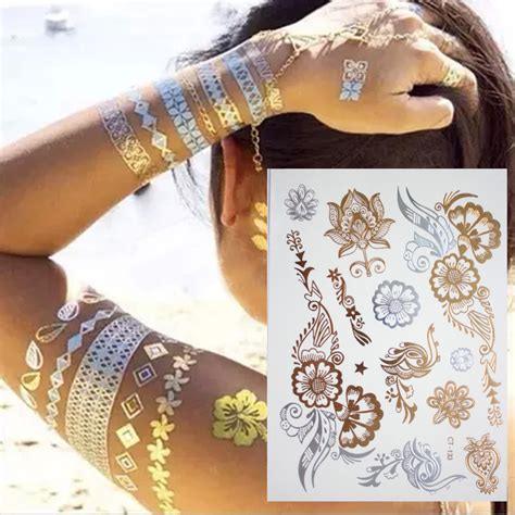 henna tattoo metallic flash tattoo 3d temporary tattoo sticker fake gold tattoo