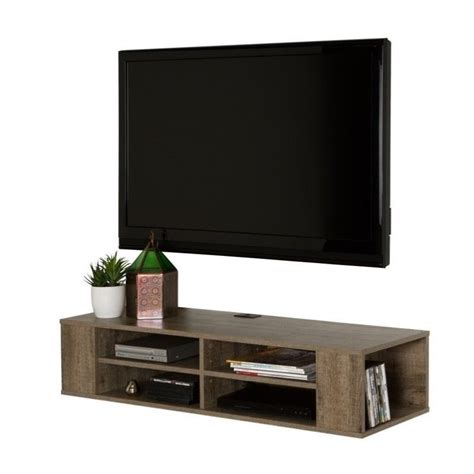south shore city wall mounted media console in black oak south shore city 48 quot wall mounted media console in