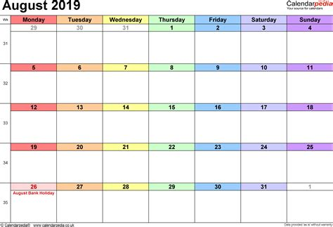 calendar august  uk bank holidays excelpdfword templates