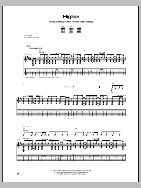 Creed One Last Breath Guitar Chords