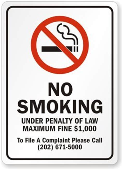 no smoking sign with fine no smoking under penalty of law maximum fine 1 000 to