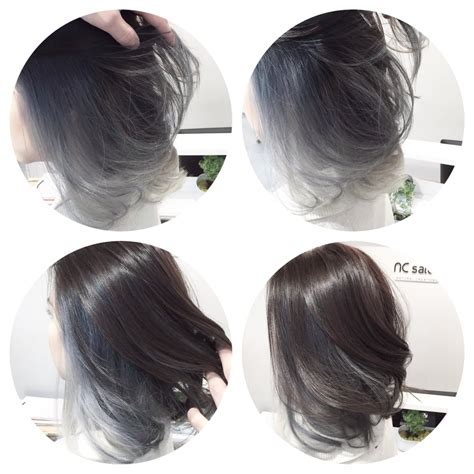 achieved a silver grey tone ombre balayage with asian type