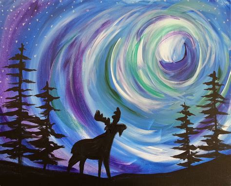 popup paint northern lights moose at laramie vfw