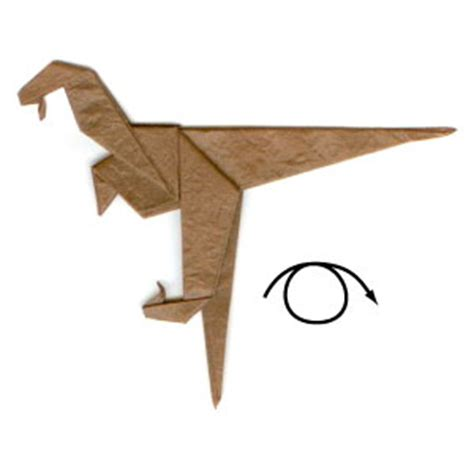Velociraptor Origami - how to make a simple origami velociraptor page 8