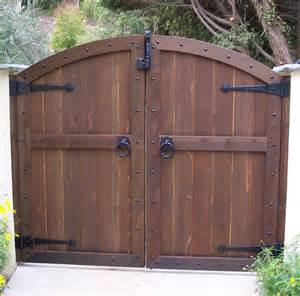 wood gates arched yard custom redwood see through entrance gates