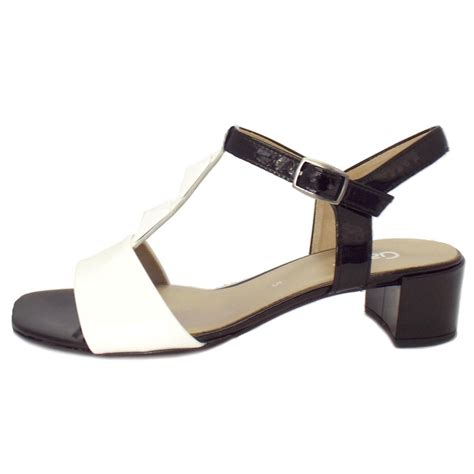 white low heel sandals gabor shoes cathedral black and white patent leather