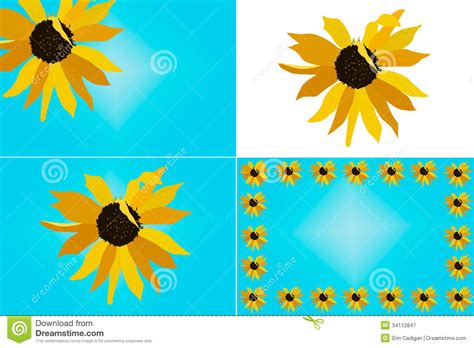 clipart etc sunflower illustration set stock illustration