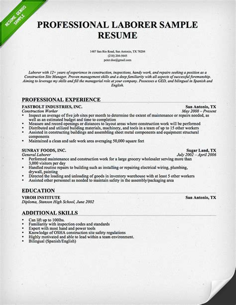 Www Resume Genius Construction Worker Resume Sle Resume Genius