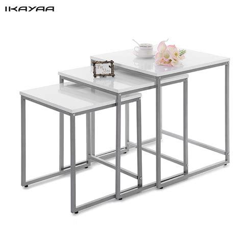 metal side tables for bedroom ikayaa 3pcs metal frame nesting tables set living room
