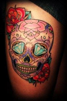 skull tattoo with diamond eyes beautiful sugar skull thigh tattoo halloween skull tattoo