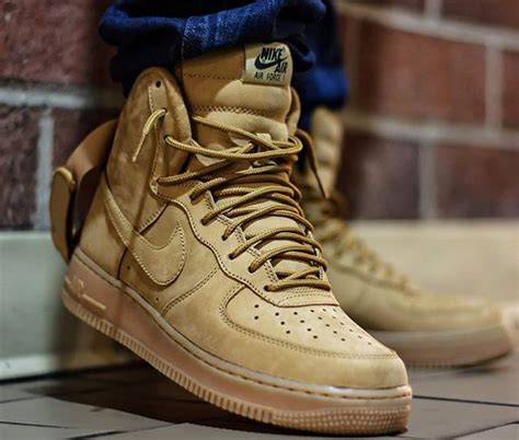 nike air force  high  lv suede flax wheat sneakers actus