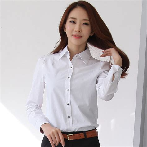 Kemeja Yuanita korean fashion white cotton shirts size s 2xl back button design formal wear 2015