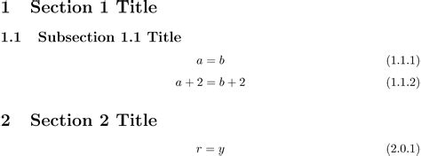 latex no section number math mode section level equation numbers follow previous