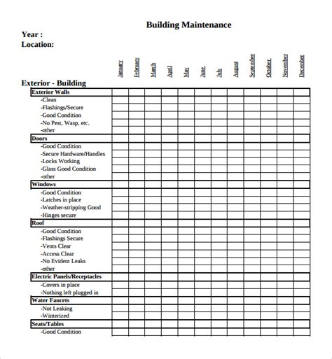 building maintenance plan template building maintenance schedule template