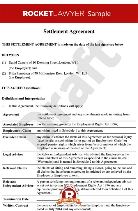 settlement agreement formerly compromise agreement