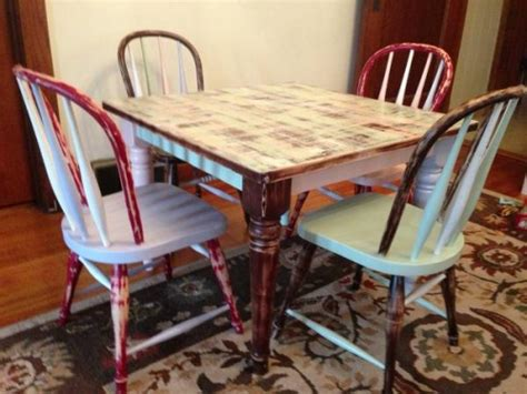 revisioned pottery barn wood table and 4 chairs in