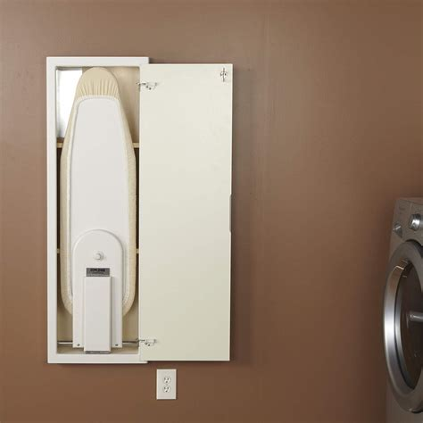 stow away ironing board cabinet household essentials stowaway in wall ironing board white
