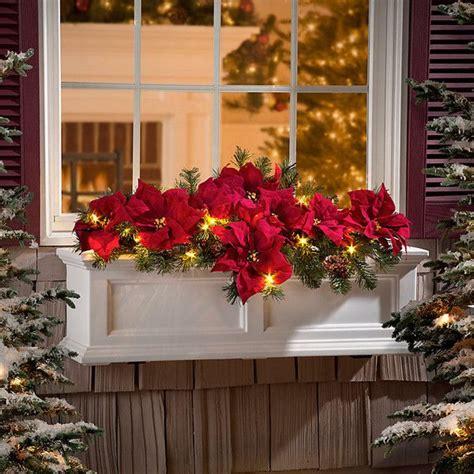 lighted christmas wreaths for windows pre lit poinsettia christmas greenery window box filler