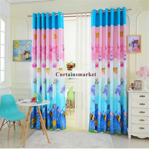 ocean curtains cartoon pink and blue colored ocean window curtains