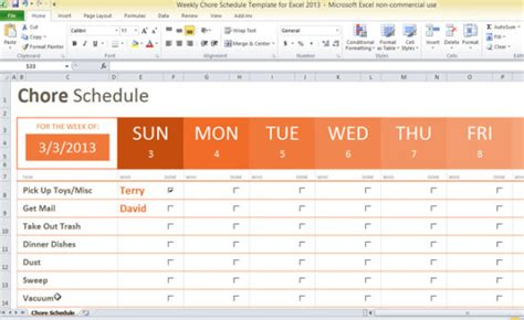 household roster template weekly chore schedule template for excel 2013 powerpoint