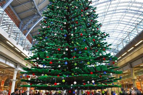 33 foot lego christmas tree erected in london s st pancras