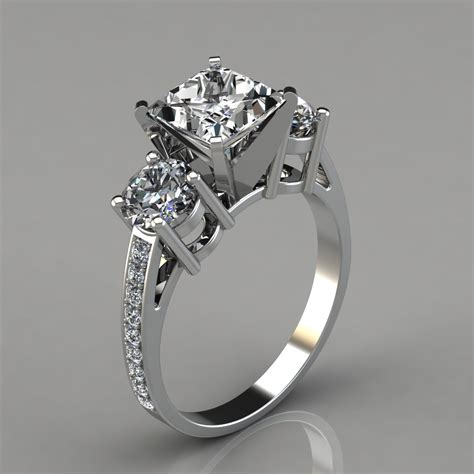 Engagement Stones by Three Princess Cut Engagement Ring With Accents