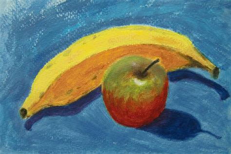 acrylic painting apple banana paint happy a painting a day