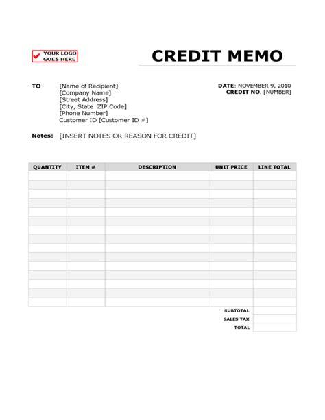 memo sheet template credit memo form free