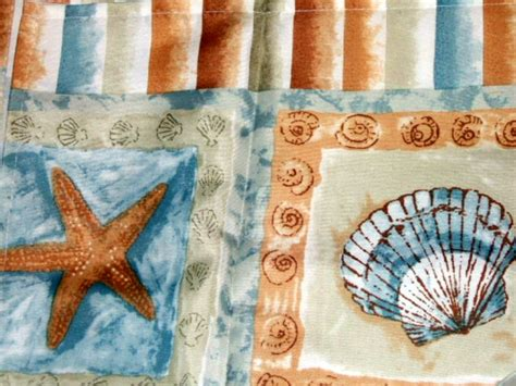 beach inspired curtains brighton seashells and starfish shower curtain beach decor