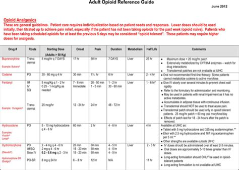 Opioid Conversion Table Pdf by Opioid Conversion Chart For Excel Pdf And Word
