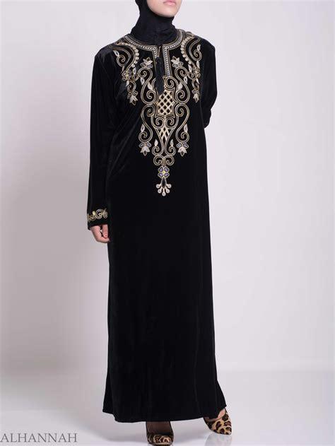 Jilbab Velvet Sequin Syria Berkualitas swirled clovers embroidered velvet syrian thobe th784