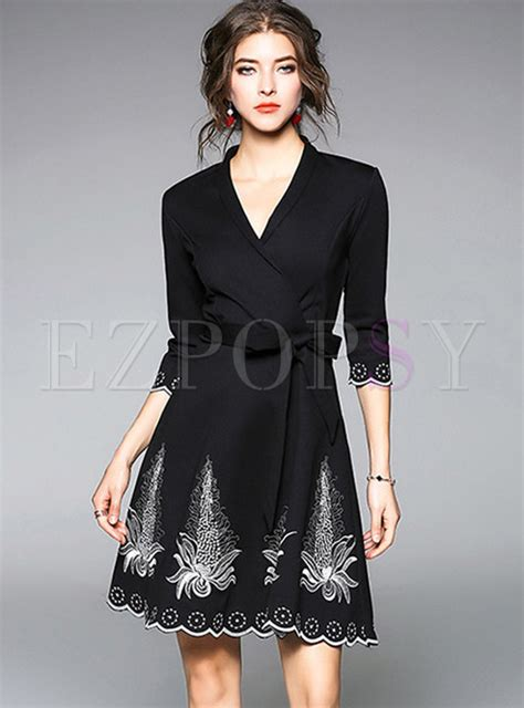 V Neck Embroidered A Line Dress dresses skater dresses black embroidered v neck belted