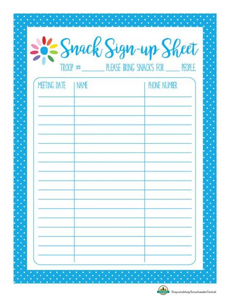 Snack Sign Up Template instant scout snack sign up sheet