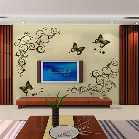 removeable wall stickers v1nf new butterfly flower wall stickers decal removable vinyl home decor free shipping in