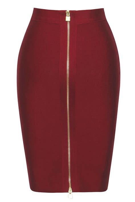 burgundy zip slit high waist pencil bandage skirt