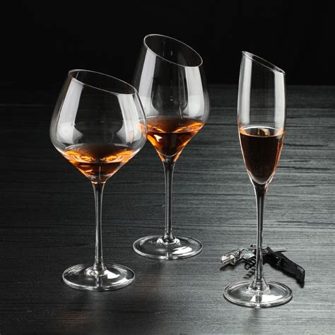 Wholesale Suppliers For Home Decor by Hand Blown Oblique Mouth Burgundy Wine Glass Slant Fancy