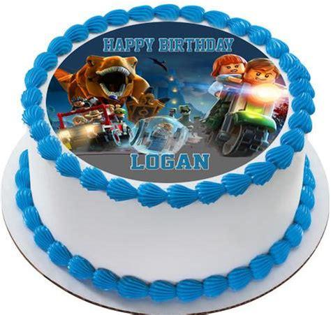 jurassic world dinosaur lego edible cake topper & cupcake